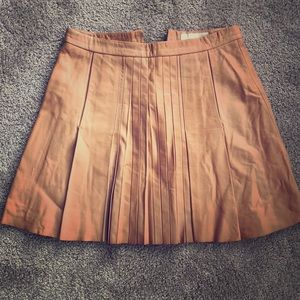 Apricot genuine leather skirt